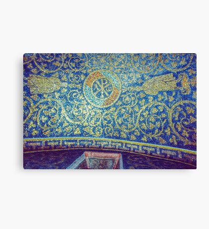 Chi Rho alpha omega on roof Tomb of Gallia Placida Ravenna Italy 19840414 0058 Canvas Print