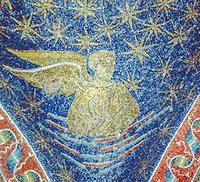 Human symbol of gospel writer, mosaic on roof Tomb of Gallia Placida Ravenna Italy 198404140062  by Fred Mitchell