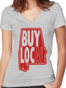 Buy Local Alabama Red Women's Fitted V-Neck T-Shirt