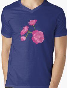 Pink Camelia Mens V-Neck T-Shirt