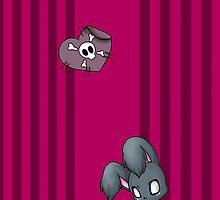 Goth bunny themed iPad/iPhone case by Johanna Sedell
