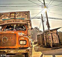 The orange truck by Tomas Hjort