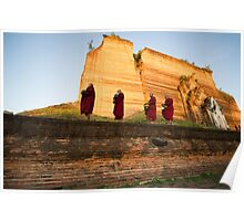 Sunrise at the unfinished Mingun Pagoda Poster