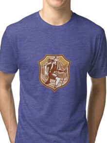 Hiker Hiking Mountain Shield Woodcut Retro Tri-blend T-Shirt