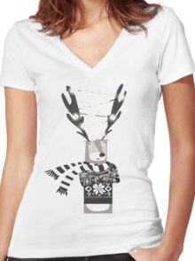 Christmas Bright Reindeer  Women's Fitted V-Neck T-Shirt