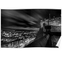 Edinburgh castle at night Black & White. Poster