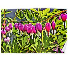Hearts Linen / Canvas Digital Painting Poster