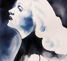 Marlene Dietrich Original Watercolor Portrait Blue Angel Glamour 30s Fashion Blonde Film Noir Painting by KimberlyGodfrey