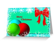 Christmas card with ornaments and bow. Greeting Card