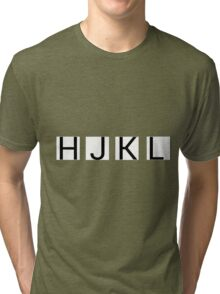 HJKL (No Arrows + No Text Transparency) Tri-blend T-Shirt