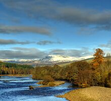 The River Tummel & Ben Y Vrackie, Scotland. by DAVY NELSON