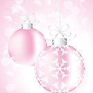Christmas card with Christmas baubles in pink by schtroumpf2510