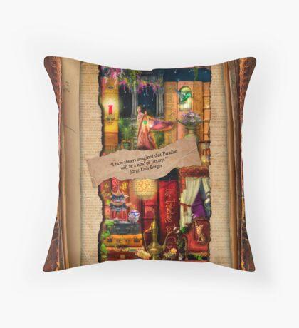 The Curious Library Calendar - April Throw Pillow