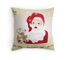 Christmas eve with Santa Claus and teddy Throw Pillow