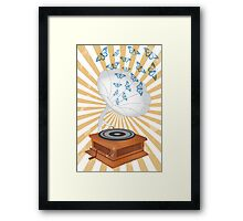 Retro music player with butterflies Framed Print