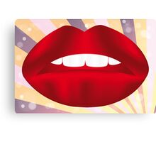 Retro poster with red lips Canvas Print