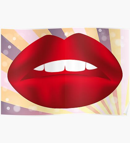 Retro poster with red lips Poster