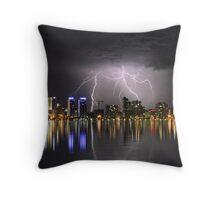 Lightning over the Perth CBD Throw Pillow