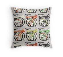 Folded Brompton Bicycle Throw Pillow