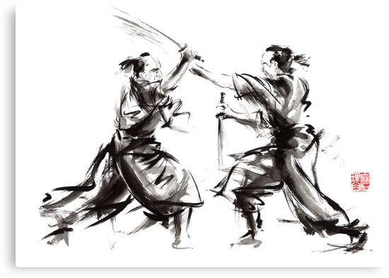 Samurai sword bushido katana martial arts budo sumi-e original ink sword painting artwork by Mariusz Szmerdt