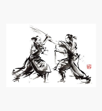 Samurai sword bushido katana martial arts budo sumi-e original ink sword painting artwork Photographic Print