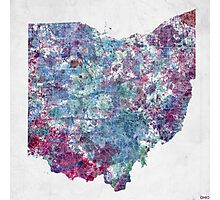 ohio map cold colors Photographic Print