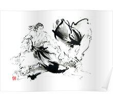 Aikido randori techniques kimono martial arts sumi-e samurai ink painting artwork Poster