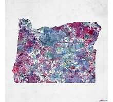 oregon map cold colors Photographic Print
