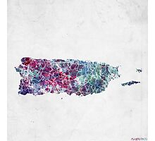 puerto rico map cold colors Photographic Print