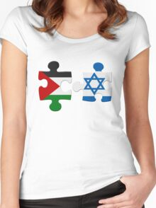 Israel and Palestine Conflict Flag Puzzle Women's Fitted Scoop T-Shirt
