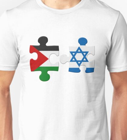 Israel and Palestine Conflict Flag Puzzle Unisex T-Shirt