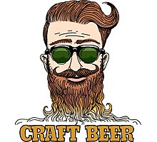 Hipster Craft Beer Theme Photographic Print