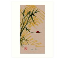 """Take A Chance""  Sumi-e Ink Brush Pen Ladybug Painting Art Print"