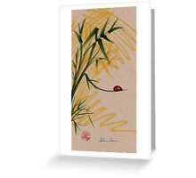 """Take A Chance""  Sumi-e Ink Brush Pen Ladybug Painting Greeting Card"
