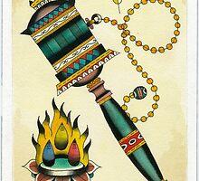 Dharma Wheel & Three Jewels by colinoshtucker
