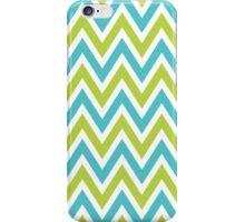 Chevrons, Zigzag Background Blue, Green iPhone Case/Skin