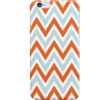 Chevrons, Zigzag Background Blue, Orange iPhone Case/Skin