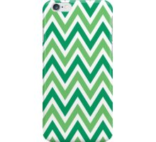 Chevrons, Zigzag Background Green, White iPhone Case/Skin