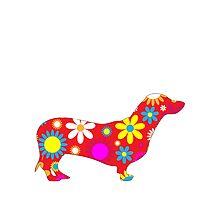 Dachshund Dog Retro Funky Floral by roughcollie5