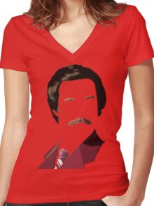 Ron Burgundy Women's Fitted V-Neck T-Shirt