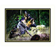 African Wild Dogs Abstract Art Print