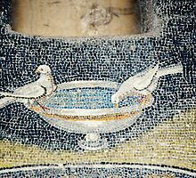 Birds on fountain mosaic mid C5 Tomb of Gallia Placida Ravenna Italy 198404140066  by Fred Mitchell