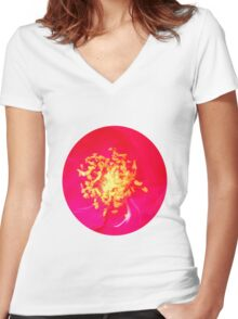 Red &  Golden Women's Fitted V-Neck T-Shirt