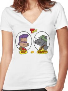 Bebop and Rocksteady Women's Fitted V-Neck T-Shirt