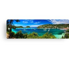 Panorama of Lakka bay & village, Paxos island Canvas Print