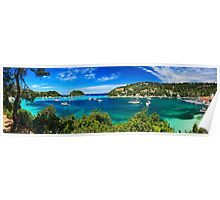 Panorama of Lakka bay & village, Paxos island Poster