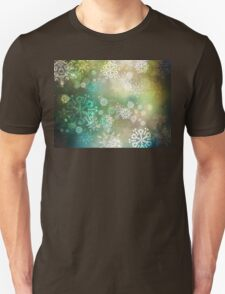 Green Background with Snowflakes Unisex T-Shirt