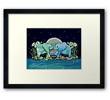 Lotus Flower Elephants Ocean Blue and Sea Green Framed Print
