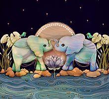 Lotus Flower Elephants of the Rainbow by © Karin  Taylor