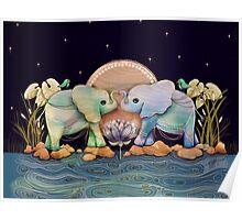 Lotus Flower Elephants of the Rainbow Poster